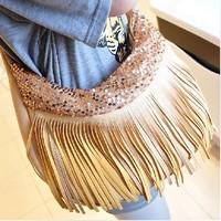 Free shipping 2013 new handbag sequined fringed bag ladies bag PU