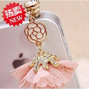 Flower rhinestone mobile phone dustproof plug headphones pendant  for SAMSUNG   echinochloa frumentacea  for htc    for apple