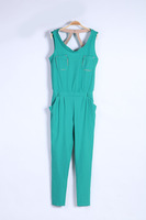 High street R509 summer new  double pocket back hollow sleeveless temperament casual  Harem Pants women