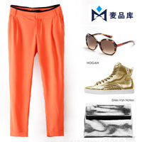 High street J237 Summer new candy-colored  pant trousers with belt Harem Pants women