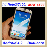 free shipping  N7100  Note2 1:1 Android 4.2, MTK6577 Dual core WIFI 3G GPS Free gifts