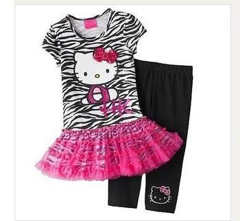 children's set 5pcs/lot cotton girls princess dress 100% cotton fashion dress black hello kitty tutu skirt+pants suit free ship