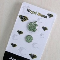 green Sticker  Sells Luxury For iPhone 5 3/4G/4S iPod iPad Bling Diamond Crystal Deco Home Button & Logo Sticker
