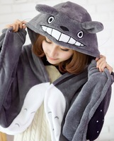New Arrival My Neighbor Totoro Lovely Plush Soft Cloak 1pc Totoro Cat Cape Cartoon Cloak Coral Fleece Air Blanket
