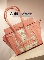 2013 women's handbag ladies rhinestone givlie bling lace bag smiley bag