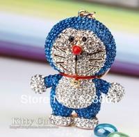 FREE SHIPPING New Arrival Bling Bling Full Crystal Rhinestones Doraemon Pokonyan Car Keychain Keyring Charm