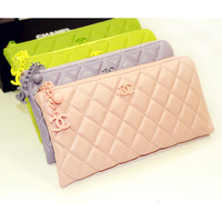 2013 fashion genuine leather sheepskin women's plaid candy color wallet long zipper design day clutch wallet