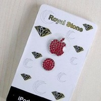 red Sticker  Sells Luxury For iPhone 5 3/4G/4S iPod iPad Bling Diamond Crystal Deco Home Button & Logo Sticker