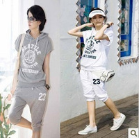 2013 new arrival summer sweatshirts Women casual set hooded sports set casual wear summer women's hoodies clothing