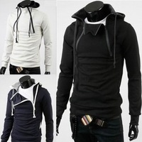 Free Shipping Men Hood Sweater Cardigan Fashion Double Color Zipper-up Block With A Hood Slim Thickening Fleece Sweatshirt