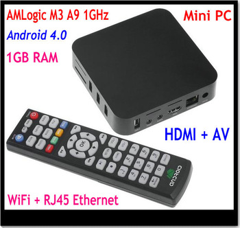 Mini PC AMLogic 8726 M3 TV BOX Cortex A9 Android 4.0 Smart TV BOX 1080P Media Player HDMI AV out WIFI RJ45 Ethernet Lan