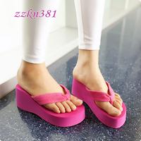 Zzkn high-heeled terry cloth flip flops summer platform wedges women's slip-resistant clamping jaw beach flip slippers