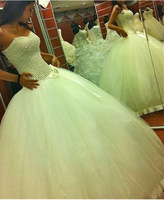 WB0300 2014 Fashion designed top heavy pearls beaded tulle wedding dress ball gown