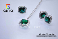 GN S036 Italina18K Platinum Plated Luxurious Square green crystal jewelry set Made with Genuine SWA ELEMENTS Austria Crystals!