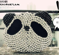 Panda women's  rhinestone  woven straw vintage  evening handbag