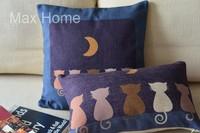 "Free Shipping 2 pcs/lot 18"" 20"" Cats & Moon Retro Vintage Style Linen Decorative Pillow Case Pillow Cover Cushion Cover Set"