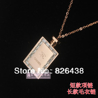 Luxury fashion small 5 perfume bottle zircon rhinestone rose gold titanium necklace steel necklace chain gift female