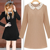 2013 autumn women's fashion plus size laciness o-neck long-sleeve dress slim
