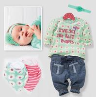 New arrival Girls autumn long sleeve 5pcs suit head wear+bib+t-shirt+pants set for children baby wear free shipping