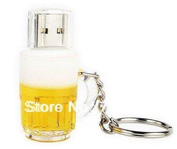 Free shipping 2GB 4GB 8GB 16GB 32GB 64GB Genuine New beer bottle / beer mug model key chain usb memory stick pen thumb drive