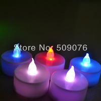NEW Free shipping 24pcs/lot 3.6*3.8CM 6color flameless led candle light CR2032 battery operated candle for wedding decoration