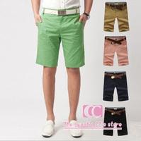 Candy color 5 colors summer fashion casual shorts for men slim shorts pink black green khaki dark blue M-L-XL-XXL wholesale