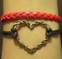 hot sell Vintage brozen Sideway heart Charm Bracelet  cotton Bracelet