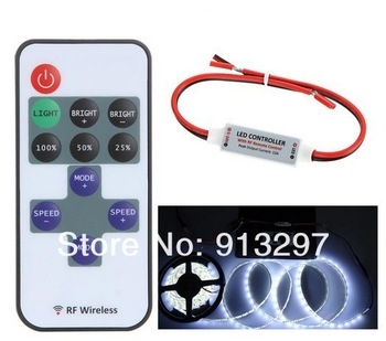 5-24V 11 Key Wireless RGB LED RF Remote Controller Mini Controller Dimmer for Single Color LED Strip 5050 3528 Free Shipping