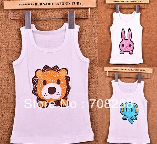24pcs/lot Newest Design!baby cartoon t-shirt cute rabbit/lion/elephant print soft cotton tees kids summer tops cool wear307(China (Mainland))