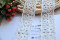 LT143 Free Shipping 7Y/Lot, 4CM Wide, 2013 New Handmade DIY Water Soluble Cotton WHITE Embroideried Tulle Lace Trim