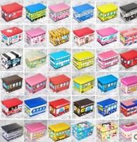 High Quality Car Multifunctional PU Storage Box oxford fabric Child Clothing Toy folding Stool Tin Organize storage boxes