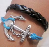 hot sell Vintage silver Sideway Alloy Anchor Charm Bracelet  Braided PU Leather Bracelet
