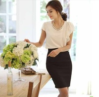 Spring and summer new arrival retro  high waist bust skirt elastic slim hip one-step business skirt