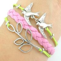 hot sell fashion antique silver Sideway bird branch Charm Bracelet leather Bracelet