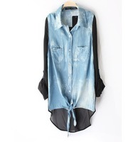 2013 New fashion Brand Jeans Botton Casual European style Patchwork adjustable sleevveness Women/ladies Blouse/shirt size S to L