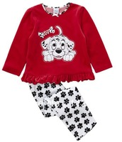Free Shipping 2014 New Arrival Autumn children girl set  two piece  children suit  Dog pattern size in 80 90 100 110 120cm