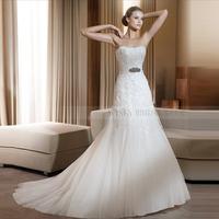 2013 How selling  Elegant Mermaid Sweetheart Beaded Organza Chapel Wedding Dress Party dress Custom-made Free shipping
