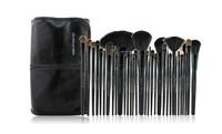 Professional Cosmetic Makeup Kit 32pcs Makeup Brush Set Leather With Black Holder Bag Free Shipping