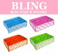 Bling Recommend Free Shipping Hot Sale Folding 12 Grid Storage Box For Bra,Underwear,Socks 31*23*11CM