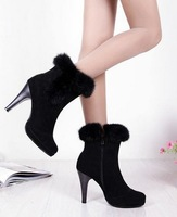 Free shipping ankle boots women fashion short boot winter footwear high heel shoes sexy snow warm P7414 EUR size 34-43