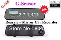 "FreeShipping NEW!! Full HD 1080P Super Slim Design Rearview Mirror Car DVR Recorder G-600 2.7""LCD Built-in G-Sensor"