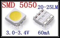 Wholeseller SMD 5050 LED  White 3.0-3.4V 60mA 1K/Reel 20-25LM