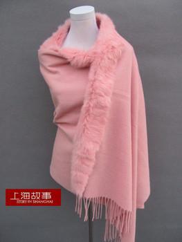2013 thickening plus size rex rabbit hair fur cape wool plain scarf female