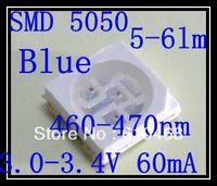 Free shipping SMD 5050 LED Blue 3.0-3.4V 60mA 5-6lm 1K/REEL
