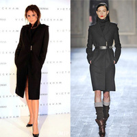 Autumn Winter Victoria Beckham Outwear Women Black Wool Coat Office Lady Outwear S M L XL