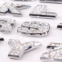 Car Sticker Letter Diamond 3D Stereo Car Rhinestone Pasted Letter Diy Crystal Diamond Metal Letter - 1 PCS