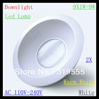 2pcs/lot New New Led Lamp 9-5050 SMD downlights Led Light 100V-240V 9W 810LM Celling light Led Bulbs Warm White/White