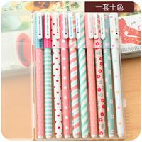 2014 new canetas escolar korean school supplies free shipping hearts . korea stationery lovely fresh unisex pen multicolour set