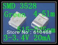 Free shipping SMD 3528 LED Green 3.0-3.4V 20mA 4-5lm 2K/REEL