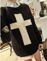 East Knitting CR-004 Fashion Women Cross Pattern Woollen Sweater Black/White L suit
